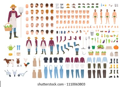 Farmer, farm or agricultural worker constructor or DIY kit. Set of male character body parts, facial expressions, clothes, working tools isolated on white background. Cartoon vector illustration