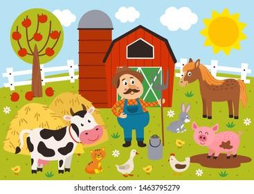 farmer and farm animals in the barnyard- vector illustration, eps
