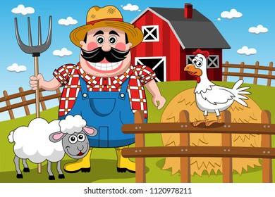 Farmer Farm Cartoon Animal Animals Ranch