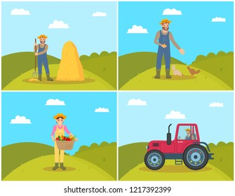 Farmer feeding domestic animals hens on hill field. Tractor on land, farming woman with pannier and harvested veggies in it. Hayfork and bale vector