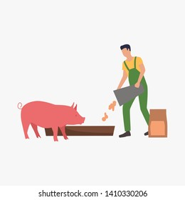 Farmer feeding pig. Farm worker foddering, ranching cattle. Farming concept. Illustration can be used for topics like agriculture, business, meat production