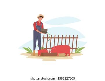 Farmer feeding pig. Farm worker foddering, ranching cattle. Vector illustration in a flat style