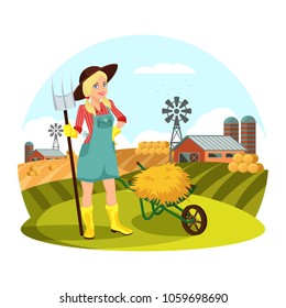 Farmer female with pitchfork gathering hay in front of field with barns and round hay bale. Woman work at village, girl farmer agrarian. Countryside and farmland, agricultural theme
