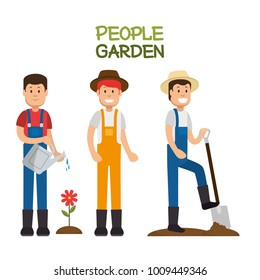 farmer gardener cartoon people