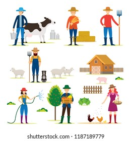 Farmer, Gardener, Characters with Agriculture Product Set, Grower, planter, Horticulturist, Orchardist, Men and Women