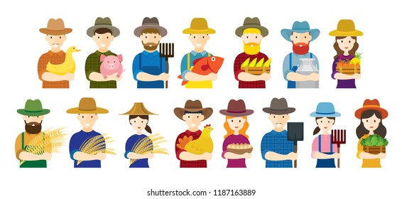 Farmer, Gardener, Characters Hold Agriculture Product Set, Grower, Planter, Horticulturist, Orchardist, Men and Women