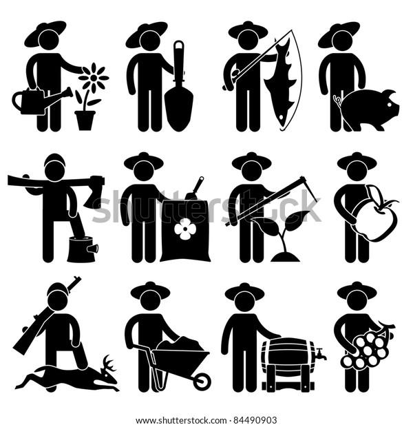 Farmer Gardener Fisherman Poultry Lumberjack Hunter Village Job Besetzung Sign Piktogramm Symbol Symbol