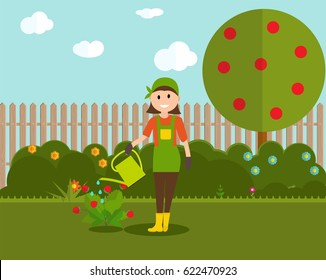 Farmer Gardener Woman with Watering Can and Strawberry Bush in Modern Flat Style  Vector Illustration EPS10