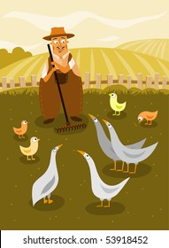 Farmer with geese and chicken - vector