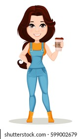 Farmer girl dressed in work jumpsuit. Cute cartoon character holding hot tasty coffee. Can be used for animation, as design element and in any farm related project. Dismantled over the layers. Vector