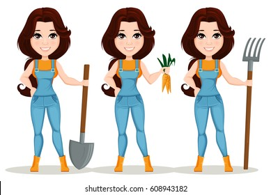 Farmer girl dressed in work jumpsuit. Set. Cute cartoon character. Beautiful farm girl holding a shovel, holding forks and holding fresh carrots. Vector illustration. EPS10