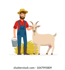 Farmer with goat and bucket with goat milk and hay. Farming concept vector illustration in flat design. Happy farmer and farm animal cartoon characters isolated on white background.