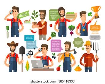 farmer, grower, farm icons set. vector illustration