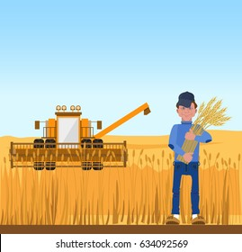 Farmer harvesting wheat and harvester. Vector illustration