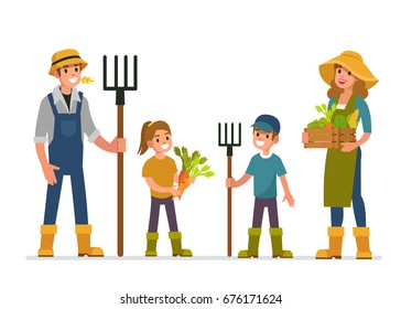 Farmer and his family working at farm. Flat style vector illustration isolated on white background.