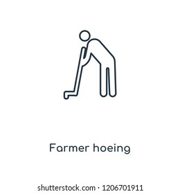 Farmer hoeing concept line icon. Linear Farmer hoeing concept outline symbol design. This simple element illustration can be used for web and mobile UI/UX.