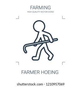 farmer hoeing icon. high quality line farmer hoeing icon on white background. from farming collection flat trendy vector farmer hoeing symbol. use for web and mobile