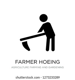 farmer hoeing icon vector on white background, farmer hoeing trendy filled icons from Agriculture farming and gardening collection, farmer hoeing simple element illustration