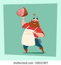 Farmer Hold Pig Leg Pork Butcher Animal Farm Flat Vector Illustration