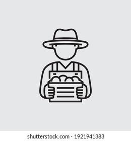 Farmer Holding Box Vektorliniensymbol