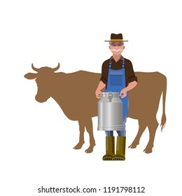 Farmer holding a milk churn against a silhouette of a cow. Vector illustration isolated on white background