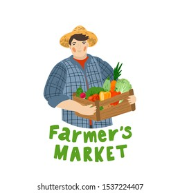 The farmer holds a box of vegetables. Autumn harvest. Farmers market logo. Flat cartoon illustration isolated on white background. Hand drawn vector character. Man farm worker.