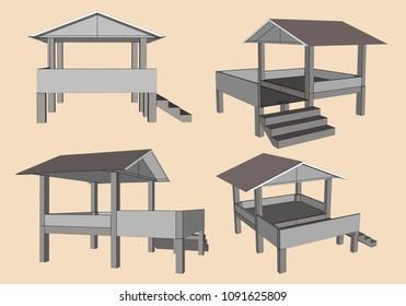 Farmer Hut in Asia, Vector & Illustration