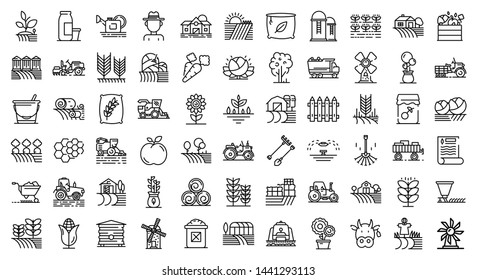 Farmer icons set. Outline set of farmer vector icons for web design isolated on white background