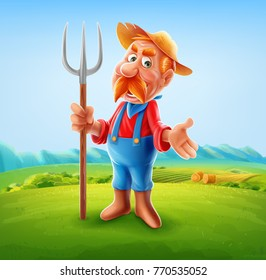 farmer illustration for agriculture product