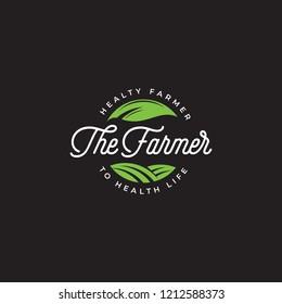 The farmer logo vector, farm badge logo template, Green farmer logo, health farm label