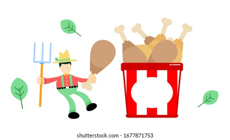 farmer man agriculture and chicken drumstick bucket box snack cartoon doodle flat design style vector illustration