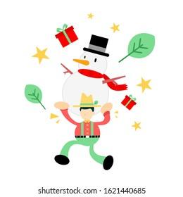 farmer man agriculture pick snowman merry christmas cartoon doodle flat design style vector illustration