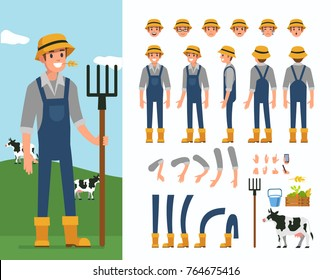 Farmer man  character constructor and objects for animation scene.  Set of various men's poses, faces, hands, legs. Flat style vector illustration isolated on white background.