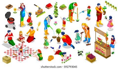 Farmer Man and Kids Planting Tree. 3D Isometric People Country Family Icon Set. Outdoor Family Bbq Party. Isolated Child Market Stand Display Fruit and Vegetables. Farming Vector Illustration