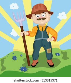Farmer man with a mustache wearing a hat holding a rake in his hand