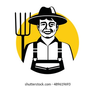 Farmer man. Vector illustration of farmer icon isolated on white background.