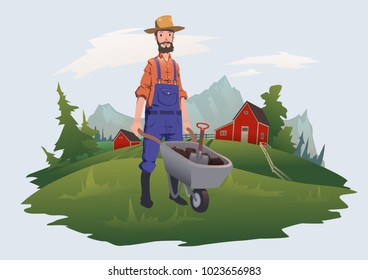 Farmer, man with wheelbarrow working on a farm in a mountain landscape. Farming, agriculture. Vector illustration, isolated on light background.
