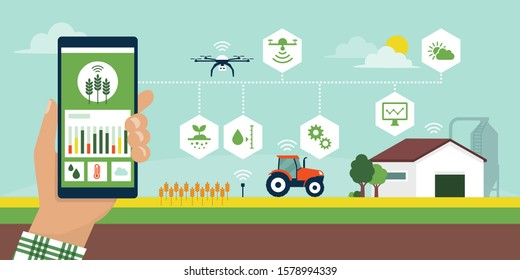 Farmer managing his industrial farm using an app on his smartphone, smart agriculture vector infographic with icons