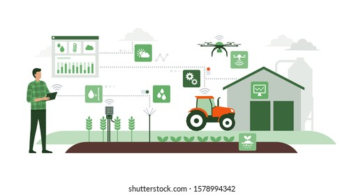 Farmer managing his industrial farm with a mobile app on his tablet, IOT and smart farming concept