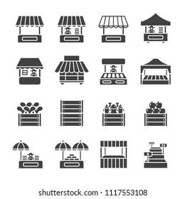 Farmer market icon set