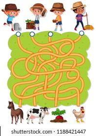 Farmer maze game template illustration