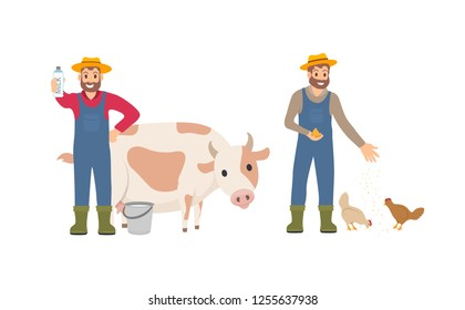 Farmer with milk package set. Person with bucket cow livestock. Animal tending and care for chickens, farming male feeding hens isolated icon vector