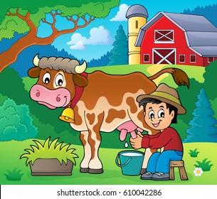 Farmer milking cow image 2 - eps10 vector illustration.