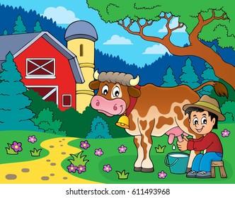 Farmer milking cow image 4 - eps10 vector illustration.