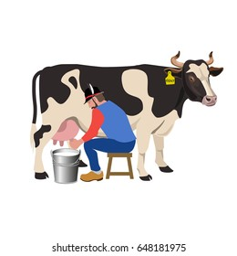 Farmer milking a cow. Vector illustration