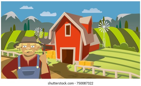 farmer on rural horizontal background. farm fields, mountains and trees. vector