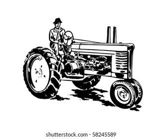 Farmer On Tractor - Retro Clip Art