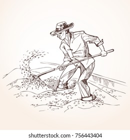 Farmer performs the drying of coffee beans. A worker with a shovel raises grain. Vintage illustration.