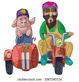 A farmer and piglet ride motorbike with stroller. Funny scene, caricature.