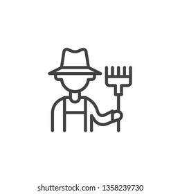 Farmer with pitchfork line icon. linear style sign for mobile concept and web design. Gardener with rake outline vector icon. Agriculture, Farming and Gardening symbol logo illustration. Pixel perfect